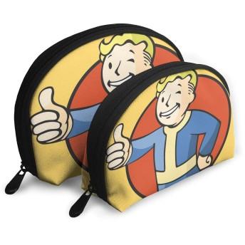 おしゃれ Fallout Vault Boy Logo 化粧ポーチ メイクポーチ コスメポーチ バッグインバッグ ラウンドポーチ トイレタリーバッグ トラベルポーチ 文具 小物入れ 収納整理 旅行 便利 学生 女性 財布 可愛い 防水