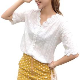 [サフィーブラウ] A34 (XL) B レディース レディス 女の子 女子 大人 ブラウス シャツ しゃつ トップス 白 白い vネック V えりなし 半袖 五分袖 5部袖 レース スカラップ 刺繍 透け 綿 涼しい きれいめ 清楚 系 レトロ 可愛い シンプル ナチュラル セクシ- 学校 スクール 仕事 会社 ビジネス クールビズ セレモニー フォーマル カジュアル 体形カバー 韓国 大きめ 大きい サイズ