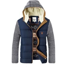 ZUOMAメンズ 綿服 綿入れ上着 ブルゾン 厚手コート 裏起毛 中綿コート 裏ボア 防寒ジャケット (ブルー, L)