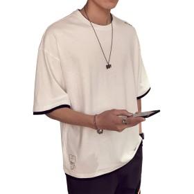 (ボナ)BONA メンズ Tシャツ 夏服 ゆったり カジュアル オシャレ 綿 無地 五分袖 刺繍 クルーネック 軽い 柔らかい 薄手 (XL, ホワイト)