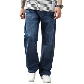(グードコ) 春 秋 メンズ ジーンズ ワイド ストレート ロングパンツ デニム ワークパンツ ズボン ゆったり 無地 ブルー 38