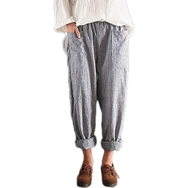 夏 女性 綿 大きいサイズ ロングパンツ カジュアル 弾性ウエスト ポケット付き ストライプ ハレムズボン バギーズボン (ブラック, XL)