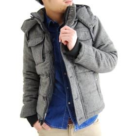 (アーケード) ARCADE 中綿 ダウンジャケット メンズ 秋冬 2WAY ツイード中綿ジャケット XXL ミックスチャコール