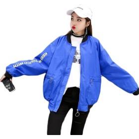 PRADRD レディース 春 アウター 薄手 ゆったり ジャケット ジップアップ ブルゾン カジュアル スタジャン 韓国ファッション ジャンパー MA-1ジャケット (M, ブルー)