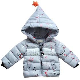 BAISNOW 男の子 綿入りのコート 厚手コート 冬 子供服 キッズ服 ベビー (120-130, グレー )