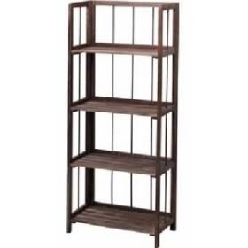 整理 収納 棚(フォールディングシェルフ キャビネット 4L) 木製 4段 幅50cm LFS-364BR ブラウン 茶  送料無料
