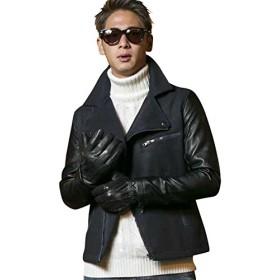 (アドミックス アトリエサブメン) ADMIX ATELIER SAB MEN メンズ コート ライダース 長袖 メルトン袖合皮ライダース 02-76-6563 50(L) ネイビー(40)