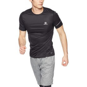 [サロモン] Tシャツ AGILE SS TEE M (アジャイル ハーフジップ ショートスリーブ ティー) メンズ Black EU L (日本サイズXL相当)