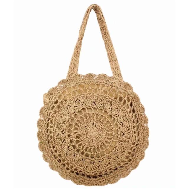Chenda かごバッグ レディース 麦わら 編み サークル 丸型 かぎ針 ショルダーバッグ ハンドバッグ 斜めがけ 鞄 おしゃれ ナチュラル カジュアル リゾート ビーチ 夏 海