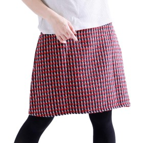 [ゴールドジャパン] 大きいサイズ レディース ツイード ミニ スカート 台形 チェック jp138 5L レッド