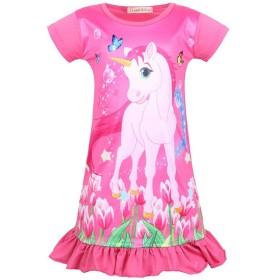 LATLONG ユニコーンパジャマ 子供 半袖 ナイトドレス 女の子 unicorn ワンピースパジャマ ガールズ 馬柄 部屋着 寝間着 可愛い 52(130cm,55-ローズレッド)