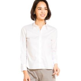 ボトムアウトで着崩れないショートシャツ 9分袖 ホワイト L [44113]