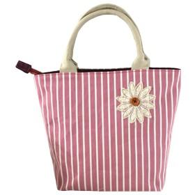 [美しいです] バッグ キャンバス トートバッグ リュックサック 通学 メッセンジャーバッグ ハンドバッグ レジャー 花柄 ストライプ (シングル, レッド)