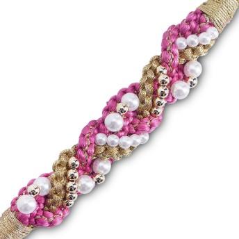 絹100% 手組み 振袖用 パール飾り 帯〆 (WS1-3)