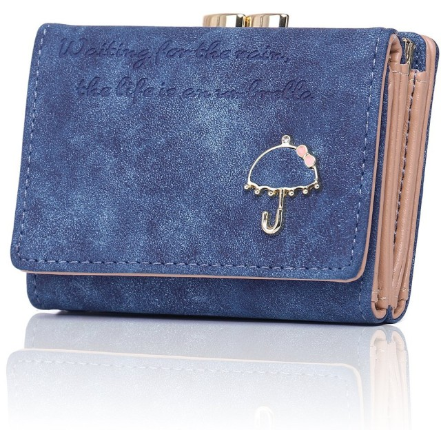 財布 レディース PUレザー 磁気防止 財布 がま口 人気 小銭入れ コインケース 小さい財布 カワイイ ウォレット 女性用 ギフト (RFID-ブルー)