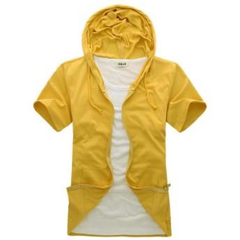 Foncaz パーカー 半袖 メンズ ジップアップパーカー スウェット フード ポケット付き 無地 薄手 カジュアル シンプル (イエロー, L)