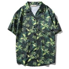 TENGDA メンズ シャツ アロハシャツ プルオーバー パイナップル 柄 プリント 薄手 ユニセックス ゆったり シンプル ラペル 半袖 サーフ系 おしゃれ 夏服 ビーチ リゾート 海 カジュアル グリーン XL