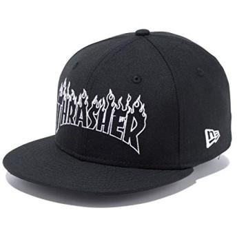 ニューエラ キッズ キャップ 帽子 NEW ERA Youth 9FIFTY Thrasher スラッシャー ファイアーロゴ ブラック × ホワイトアウトライン