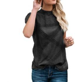 Yuzhang レディーストップス レース パッチワーク フレアフリル 半袖 かわいい 綿 Tシャツ ブラウス カジュアル (ブラック, M)