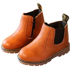 [ジャクシボー] キッズ ブーツ 男の子 女の子 ショートブーツ 裏ボア 防寒 レザー 防水 滑り止め 子供 フォーマル 靴 ブラウン 36
