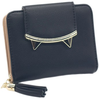JIEKERY 財布 レディース 二つ折り ミニ 財布 ウォレット 小銭入れあり カード収納 可愛い 猫耳 5色 (ブラック、)