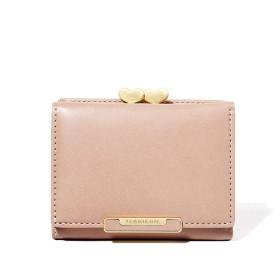 Yisin レディース 財布 ミニがま口 三つ折り カード小銭入れ ブロンズがま口 ピンク