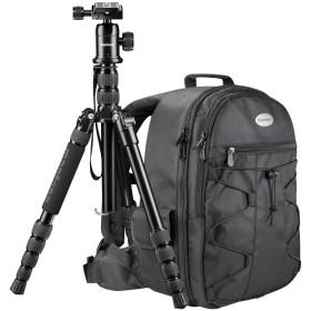 Azurit SLRカメラバックパックとDSLMトラベル三脚、ボールヘッドと一体型一脚を備えたMatonaトラベルセット