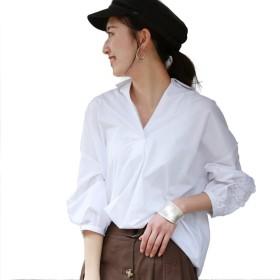 (リアルキューブ) REAL CUBE ブラウス ラウンドレーススリーブスキッパーシャツ レディース ホワイト Mサイズ