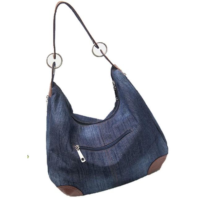 [イダク] レディース デニム バッグ 2way 大容量 ハンドバッグ 斜めがけ リュックサック 旅行 出張 防水 ショルダーバッグディープブルーF