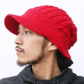 ピースクロージング ツバ付き細ケーブルニット帽子ジープ 男女兼用 メンズ レディース (レッド)