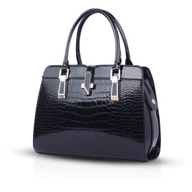 Nicole&Doris 女性のための女性のハンドバッグ2016新しいファッションのパテントレザーシェルポータブルショルダーメッセンジャーバッグ(Black)