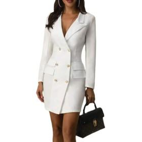 女性スーツコートダブル胸Vネックロングスリーブビジネスドレス White L