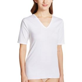 [グンゼ] インナーシャツ 快適工房 婦人V型五分袖スリーマー 綿100% 日本製 KH5048 レディース ホワイト 日本L (日本サイズL相当)