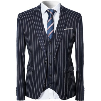YFFUSHI スーツ メンス スリーピース 1つボタン 2つボタン S-3L ストライプ チェック 長袖 全10色 着心地抜群 カジュアル スリム 四季 ファッション 大きいサイズ