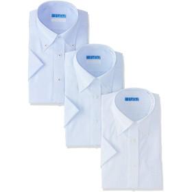 [ドレスコード101] 【半袖 ワイシャツ 3枚 綿100%】高形態安定 メンズ シャツ 形状記憶 ノーアイロン 着心地さらっと 青系ボタンダウン×3枚セット 日本 S (日本サイズS相当)