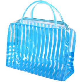 Glorwefy トートバッグ 収納袋 洗面具 旅行出張用 透明 PVC透明な防水袋 ポータブルメイク 水着入れ ビーチ 折りたたみでき 洗浄収納ポーチ タオル収納 トイレタリー整理 全五色 (BL)