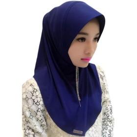 Hzjundasi イスラム教徒 女性 タッセル Crystal Splicing Hat ヘッドスカーフ イスラム コットン ショール ヒジャブ