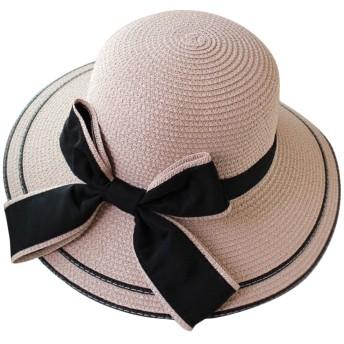 Plus Nao(プラスナオ) ストローハット ガールズ 女の子 子供 レディース 女性 日除け つば広 リボン おしゃれ かわいい 麦わら帽子 帽子 レディース ライトピンク