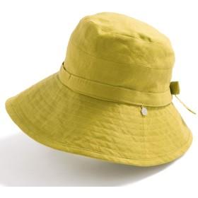 クイーンヘッド UVカット つば広 チャーム付きUVハット 小顔 帽子 ハット レディース 大きいサイズ 紫外線カット 女優帽 【フリー56-58.5cm-マスタード】
