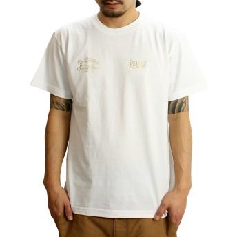 (リアルコンテンツ)REAL CONTENTS tシャツ メンズ 大きいサイズ ティシャツ 半袖Tシャツ ゴールド フォント 柄 ブランド ロゴ プリント rcst1203 XL WHITE