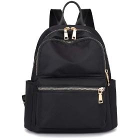 ZNYFリュック レディース 小さめ ミニリュック かわいい 女の子 ナイロン bag for women 防水 軽量 人気3way (black)