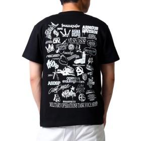 (アスナディスペック)ASNADISPEC メンズ tシャツ 大きいサイズ 半袖 History プリント ロゴtシャツ asst2222 (L, BLACK)