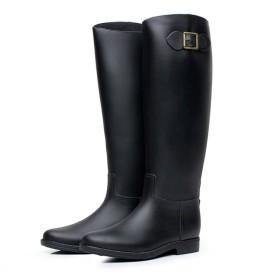 [ヘリソプス] レディース ロング丈 レインブーツ シンプル スノーブーツ 雨靴長靴 細身サイドベルト 美脚 大きいサイズ 台風 梅雨 雪対策 (M=23.5cm(37サイズ), ブラック)