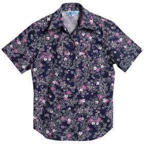 [MAJUN (マジュン)] 国産シャツ かりゆしウェア アロハシャツ 結婚式 レディース シャツ スキッパー ミニラインフラワー ネイビー×パープル L