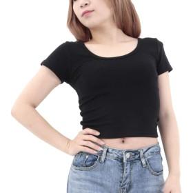 [RONDEL-BLACK(ロンデルブラック)] シンプル 無地 ショート丈 tシャツ 半袖 カットソー トップス 黒 ブラック ダンス衣装