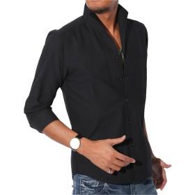 LUX STYLE(ラグスタイル) シャツ メンズ イタリアンカラー トップス 7分袖 綿 無地 ブラックM