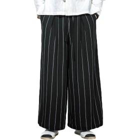 ワイドパンツ ガウチョパンツ ユニセックス タイパンツ スカンツ デザイナ かっこいい アジアンパンツ 衣装 ストライプ シンプル カジュアル ウエストゴム リネン (3XL, ブラック)