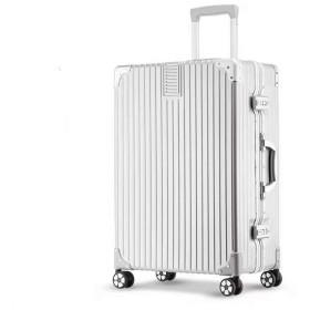 SAHASAHA スーツケース キャリーケース TSAロック 半鏡面仕上げ アライン加工 アルミフレーム レトロ 旅行 出張 軽量 静音 ファスナーレス 機内持込可 (SS機内持込可, アルミフレーム-シルバー)