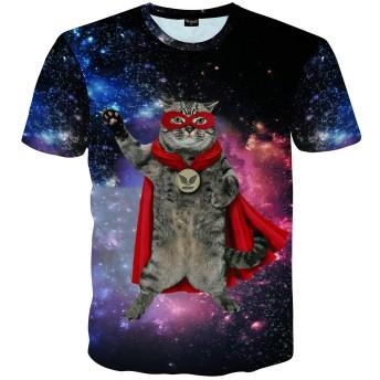 Pizoff(ピゾフ) メンズ 猫Tシャツ 半袖 宇宙柄 プリント B系 おしゃれ おもしろ ストリート 大きいサイズ カットソー-AC145-60-XL