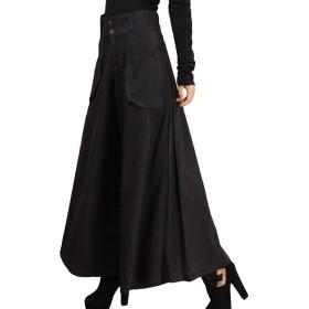 ZUOMAレディース ワイドパンツ ストレッチ 大きいサイズ ロング丈 キュロットスカート 着痩せ ファッション 通勤 (ブラック(厚), 31)